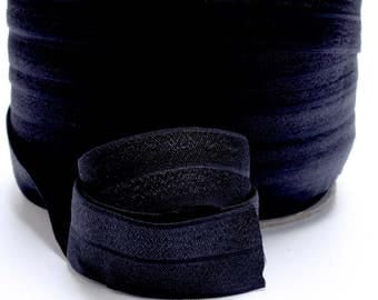 5 Yards of FOE - Black Fold Over Elastic, FOE, 1 Inch, Shiny Elastic for sewing hair bands, headbands etc. Diaper Cover Elastic 1562