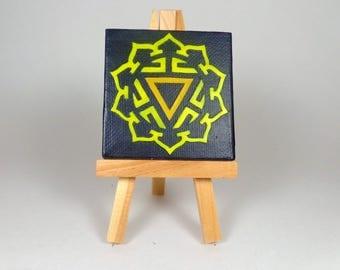 Manipura Chakra Melted Crayon Art - Solar Plexus Chakra, Third Chakra, Yellow Chakra, Chakras, Yellow, Chakra Art Mini Easel Mini Canvas Art
