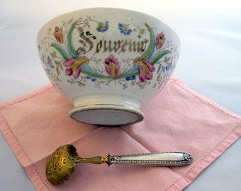 1900s  French Transferware Café au lait Souvenir Bowl with Painted Flowers