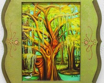 Goddess framed print, Bayou goddess, Pagan Goddess, Druid art, Wood Nymph, woodland goddess, Tree goddess, swamp landscape,