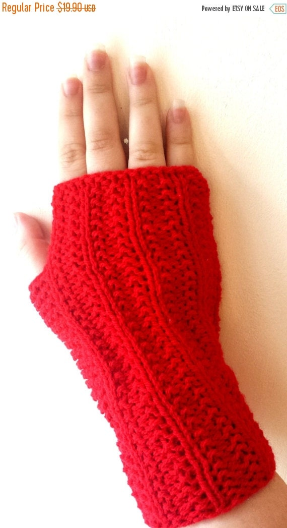 SALE 70% Off Liquidation Fingerless gloves, Hand Knit mitts, mittens, wrist warmers in  red color - Hand knitted Mittens