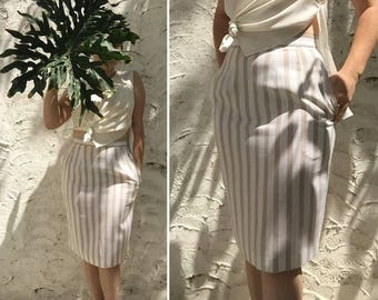 Beige And White Linen Striped Pencil Skirt | 90s vintage | minimalist | neutral | wiggle | high waisted | size small