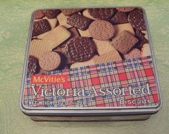 Vintage McVitie's Victoria Assorted Biscuits advertising tin Great Britain