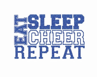 Eat Sleep Cheer Repeat Iron On Decal