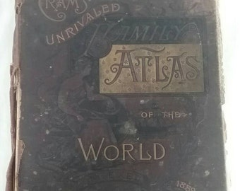 Vintage cram's unrivaled family atlas of the world 1889