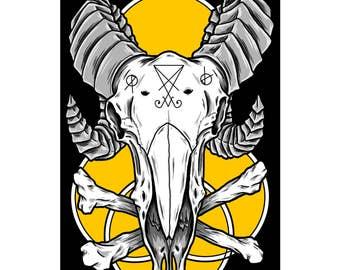 "Demon Cow Skull 11"" x 17"" Art Print, Lowbrow Art, Fine Art Print, Cowskull, Symbolism, Satanic, Lucifer, Horns, Goathorns, Digital Art"