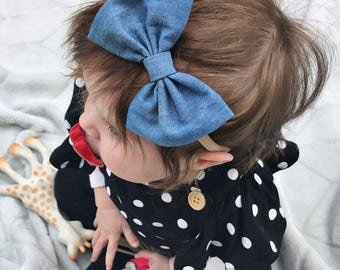 Light Denim baby bow