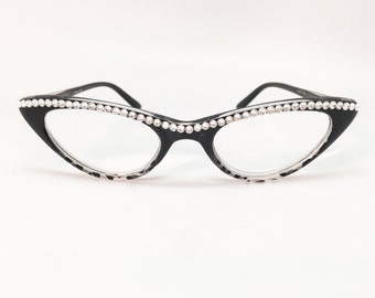 The Cat's Meow - Crystal (Cat Eye Reading Glasses with Rhinestones)