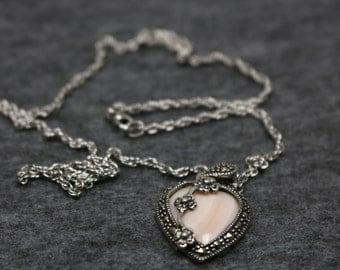 Sterling Silver Necklace with Heart-Shape Pendant