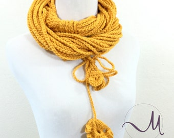 Yellow Crochet scarf, Infinity scarves, Gift for her, Handmade necklace, Boho, Crochet jewelry, Ready to ship,