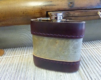 """Hip Flask """"Slated"""" - Real Slate with Horween CMXL Leather Trim"""