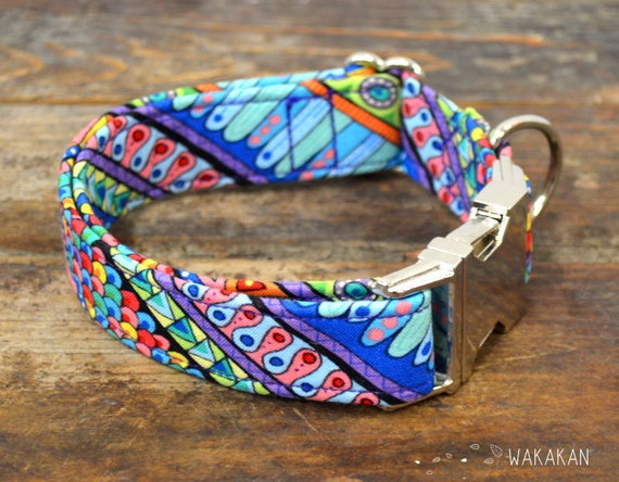 Boho dog collar adjustable. Handmade with 100% cotton fabric. doodle mandala pattern. Ethnic style Wakakan