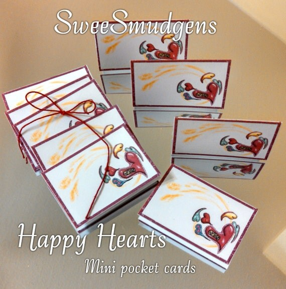 Mini gift card Pocket card gift tag place card thank you notes package tag whimsical colorful hearts party supply floral supply holiday tags