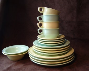 Meladur by Lapcor in green and yellow.  Dinner, lunch plates, cup and saucers and bowls. Meladur by General American.  Melmac.