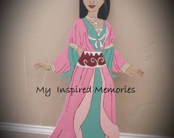 Princess Mulan wooden cutouts, Mulan standee, Mulan cutout, Mulan centerpiece