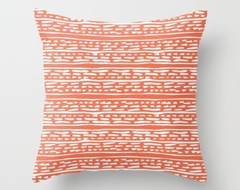 Lines and Dots Pillow with insert - Modern Pillow with insert - Coral pillow with insert - Modern Home Decor -