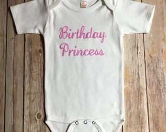 Birthday princess bodysuit or t-shirt, glitter shirt, baby and toddler girl shirt