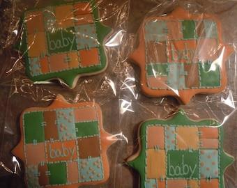 Baby Quilt Cookies