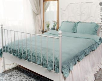 Duck egg blue linen BED SET/ duvet cover and pillow shams with ruffles - French style double/queen/king size bed set