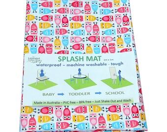 Highchair Mat / High chair Mat Splash Mat waterproof laminated cotton pink owls