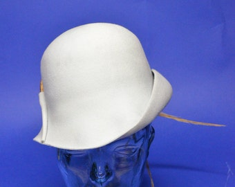 Vintage Estate Adolfo II New York Light Blue Brown Tan Feather Felt Fedora Hat