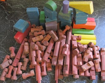 Vintage Lot of Lincoln Logs and Wooden Building Blocks From the 1960's Retro Blocks