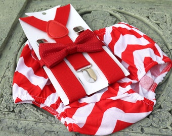1st Birthday boy cake smash bow tie suspenders outfit 6-24 mo Red chevron, boy outfit,bloomers,diaper cover