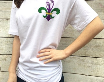 Mongram Fleur De Lis Vneck, Mardi Gras, Graphic Tee, Initials, New Orleans, Fat Tuesday, Parade, Purple, Green, Gold