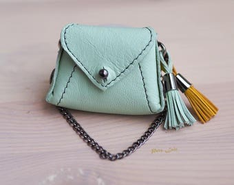 mint bag with metal chain, leather, outfit YoSD, for BJD, for Blythe, outfit for MSD, Minifie doll backpack, BJD doll fashion accessories
