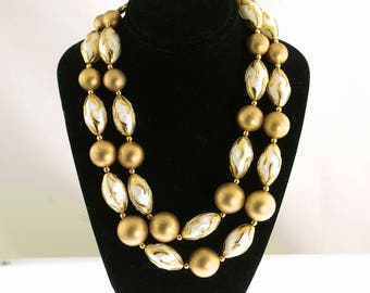 Deuville Gold Plated and Pearlescent Two Strand Necklace