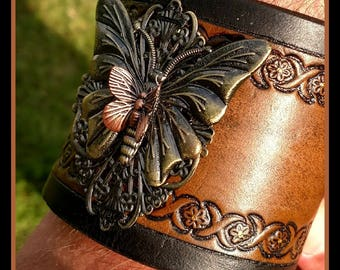 HANDMADE Leather Bracelet with Butterfly Embellishment