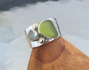 Genuine Moss and Moonglow Sea Glass Ring