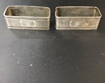 Pair Sterling Silver Watrous Arts and Craft Hammered Napkin Rings 1930's