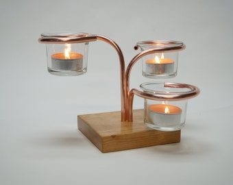 Table Top Triple Votive / Tealight Candle Holder with a Square Cherry Base