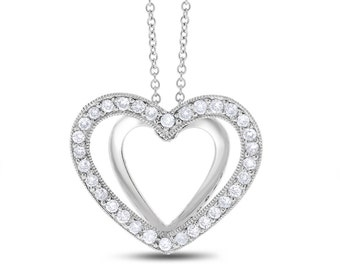 0.50 Ct. Natural Diamond 3D Love Heart Pendant in Solid 14k White Gold