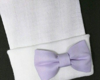 Newborn Hospital Hat with Lavender Bow. Beautiful Bow for a Beautiful Baby! You will Love this! Perfect Gift! Baby 1st Keepsake