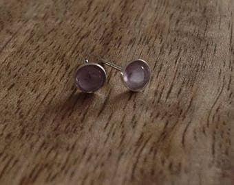Handmade Sterling Silver & Gemstone Stud Earrings - Amethyst - 4mm, Sterling Silver Stud Earrings, Gemstone Earrings, Silver Jewellery