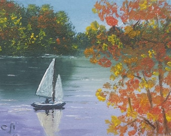 """Original ACEO landscape oil painting YACHT 2.5 x 3.5"""""""
