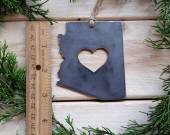 Arizona Christmas Tree Ornament Rustic Love AZ Metal State Heart Decoration Holiday Gift Travel Keepsake Wedding Favor BE Creations