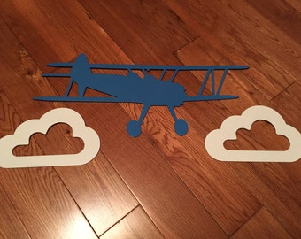 Biplane and Clouds Steel Wall Hanging Package