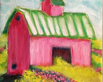 "Strawberry Barn, Oil, 4x4"""