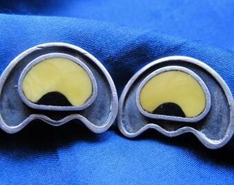 Unusual Sterling & Yellow Black Enamel Clip On Earrings ~ Signed ~ 9.6 Grams Total