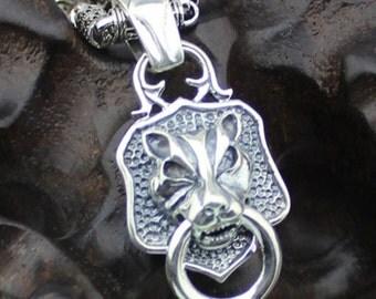 925 sivler leopard Pendant  ,DIY  Men biker   Necklace  14g