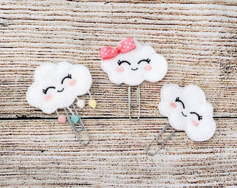 Embroidered Cloud Felt Bookmark, Weather bookmark, Paperclip bookmark, Children and Grown Up Bookmark
