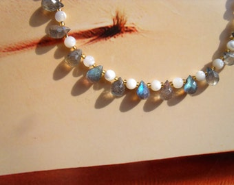 LABRADORITE mother-of-pearl bracelet drops faceted beads blue green glimmer