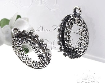 1pcs 925 Sterling Silver Filigree Wire Crown Bezel Setting for 14x10mm Cabochon, Antique Silver Color, N3535as, Top Quality, Made in Israel