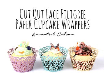 10 Pack Paper Lace Cupcake Wrappers, Leaf Vine Filigree Cupcake Wrapper, Doilies, Cupcake Liners, Laser Cut Cupcake Wrapper, DIY Wedding