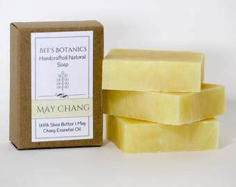 MAY CHANG Homemade Soap, BeesBotanics all Natural Soap, Guest Soap, Litsea Cubeba Natural Luxury Artisan Soap, Valentine Gift, Facial Soap,