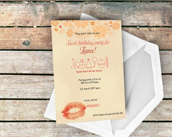 Our Lips Are Sealed Surprise Party Invitation Peach Passion 5x7inches