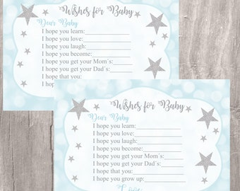 Printable Wishes for Baby, Twinkle Little Star Wishes for Baby, Blue and Silver Little Star Wishes, Instant Download, Baby Shower Game